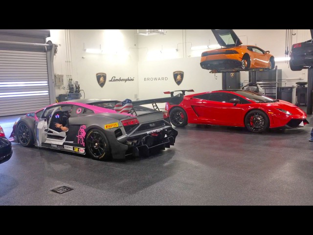 Lamborghini Gallardo Super Trofeo Race Car Startup next to our LP570-4 Super Trofeo Stradale