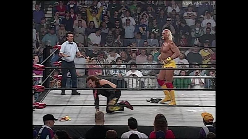 Hulk Hogan clashes with Jimmy Hart Giant, WCW Monday Nitro 15.04.1996