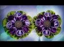 Flower Kanzashi Master Class hand made DIY Канзаши, Цветы из атласной ленты МК Зефирки для Маши