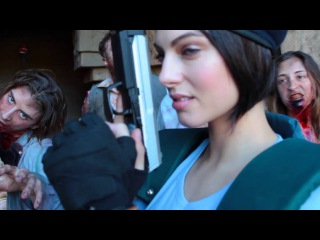Behind the scenes with Julia Voth cosplaying as Jill Valentine.