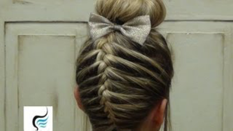 French Braid Sock Bun Girls Hairstyle » Freewka.com - Смотреть онлайн в хорощем качестве