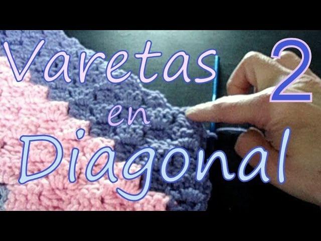 Cómo tejer varetas en diagonal 2° parte (diagonal double crochet) -tejido para zurdos-