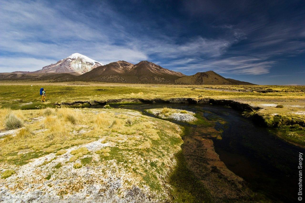 Склоны вулкана Сахама в Боливии