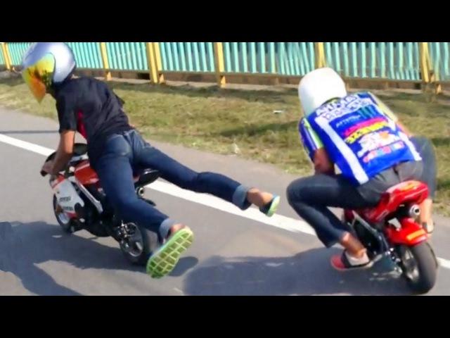 Drag Racing POCKET Mini Moto BiKE Race on streets! (Rossi vs Marquez)