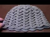 Вязание женской шапки с вогнутыми и простыми столбиками крючком часть 1 из 15