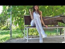 A Beauty in White: Dress, Heels and Opaque Pantyhose HD Video 1080p