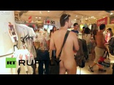 Spain  Naked shoppers strip for free clothes   YouTube