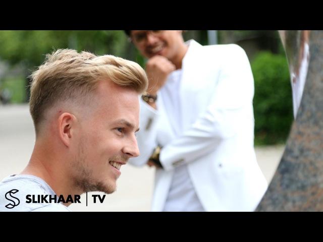 Barber Skin Fade ★ EM Football player inspired razored lines ★ Men's hair