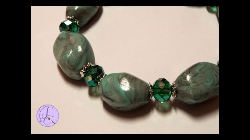 Tutorial: Perle in pasta di turchese in fimo (turquoise beads in polymer clay) [eng-sub]