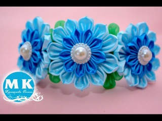 Мастер-класс Канзаши.Цветы из лент.Ободок на голову/Headband with flower kanzashi.