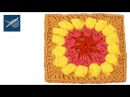 How to make Crochet Granny Square Popcorn Flower Left Hand