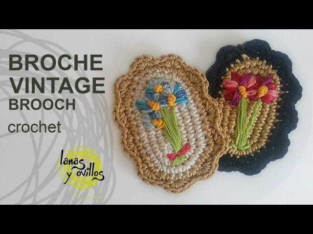 Tutorial Broche Vintage Crochet o Ganchillo Brooch (English Subtitles)