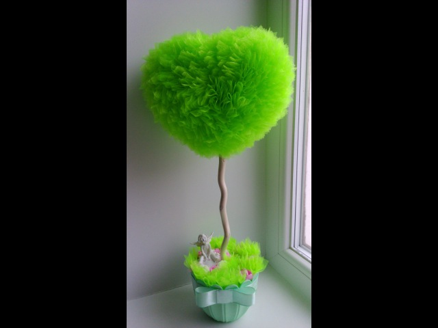 Как сделать сердце - основу для топиария. How to make heart - base for the topiary. Hand made