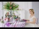 Пример оформления гостевого стола для элегантной фиолетовой свадьбы