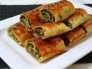 Ispanaklı börek Вкуснятина со шпинатом и творогом Объедение Хрусь хрусь