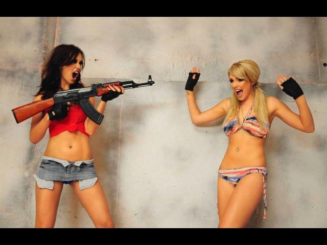 Dan Bilzerian and Hot Girls In Bikinis Shooting Guns. -