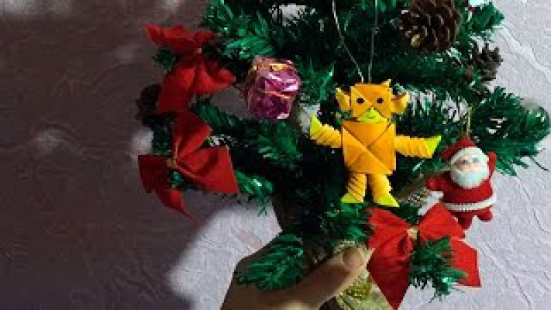 3D origami a Christmas toy fire monkey of pieces for beginners