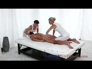 Massage rooms two young girls give stud an oily threesome