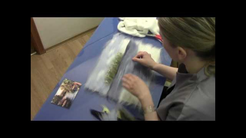 ЖИВОПИСЬ ШЕРСТЬЮ БЕРЕГ / FELTING of PICTURE / HOW TO MAKE A PICTURE of WOOL