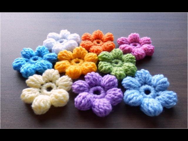 かぎ針編みの玉編みの花 長々編み5目 の編み方  How to Crochet 3D flower Crochet and Knitting Japan