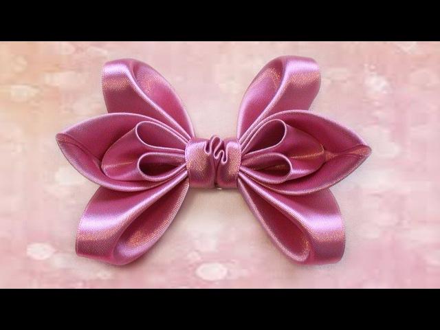 How to make a hair bows, Ribbon bows, Kanzashi Tatiana Vasyliuk, Как сделать бант из ленты для волос