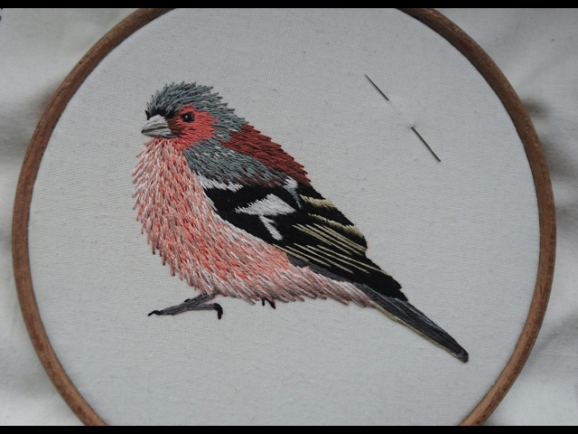 3. Hand Embroidery. Stitching a Chaffinch. Online Class