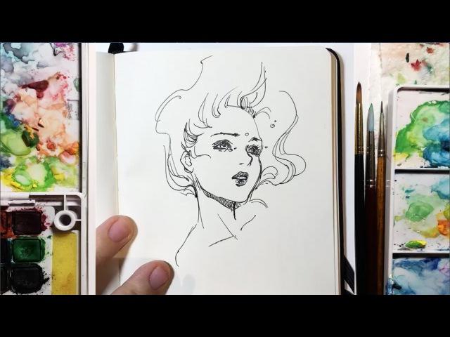 Drowning - 5 minute Speed Pen Sketch Timelapse