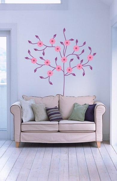 фото дерево с цветами наклейка
