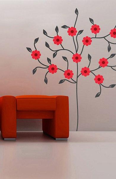 фото наклейка на стену цветущее дерево черное с красным