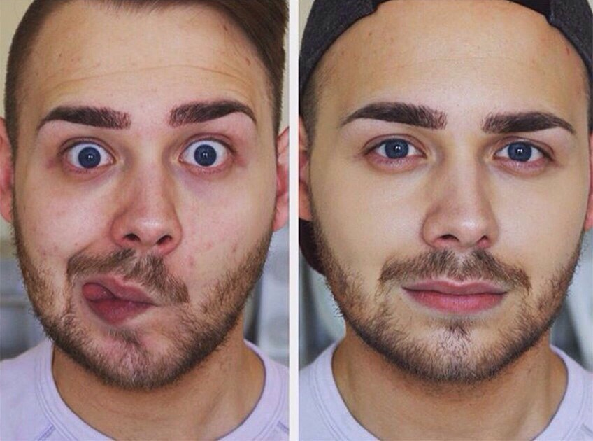 Мужчина без макияжа, Мужчины после макияжа, Мужской макияж