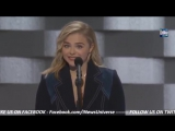 Chloe Grace Moretz speaking at the Democratic National Convention. July 28, 2016