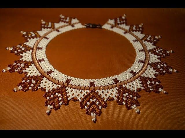 Колье из бисера Осеннее. Бисероплетение. Мастер класс Necklaces of beads. Beading