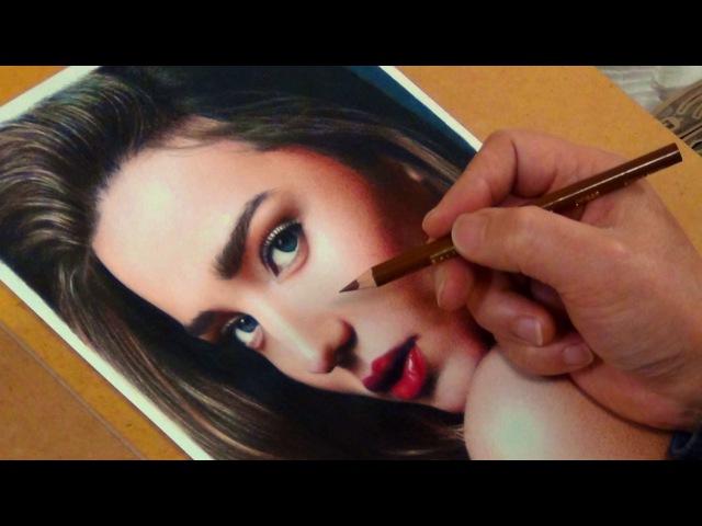Colored Pencil Drawing Miranda Kerr / 色鉛筆画 ミランダ・カー 完成までの一部始終 動画 早送り