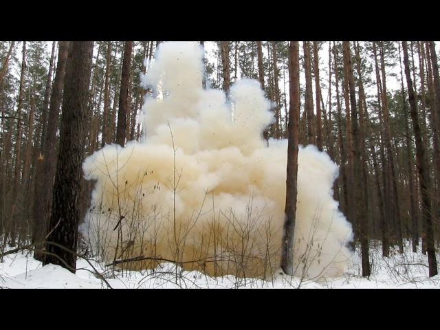 Explosion of mixture of ammonium nitrate and sugar (3500 g). Взрыв сахарного динамона.