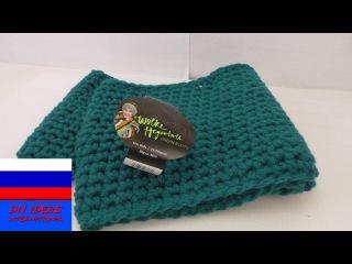 Теплый шарф двойной луп из столбиков без накида вязание крючком