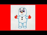 How to draw a snowman, christmas stuff, Как нарисовать снеговика