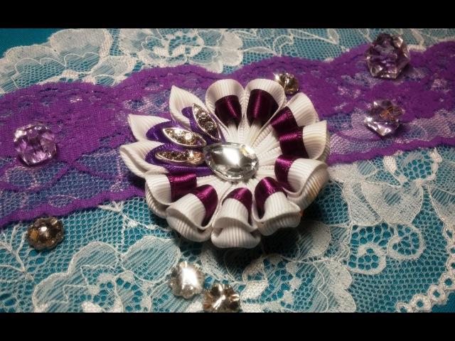 Ribbon flowers uncomplicated kanzashi hairpin Цветы из лент незамысловатая заколка канзаши