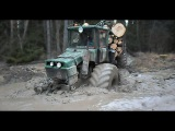 Homemade forwarder, difficult conditions,through deep water and mud, extreme