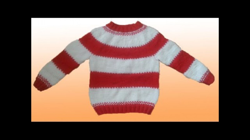 Как связать свитер для мальчика 4-5 лет с круглой кокеткой спицами. Knitting sweater for your kid