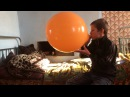 Balloon blow to pop big orange balloon