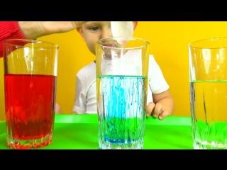 Фокус с цветной водой  Научный эксперимент  Science Experiments with colored water