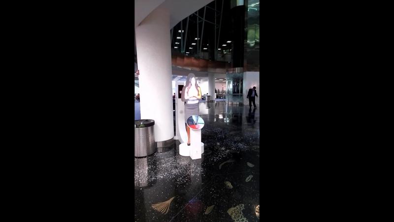 здесь плохо видно,но короче,в аэропорту майами уже есть что то похожее на галографическую женщину😅будущее приближается😱