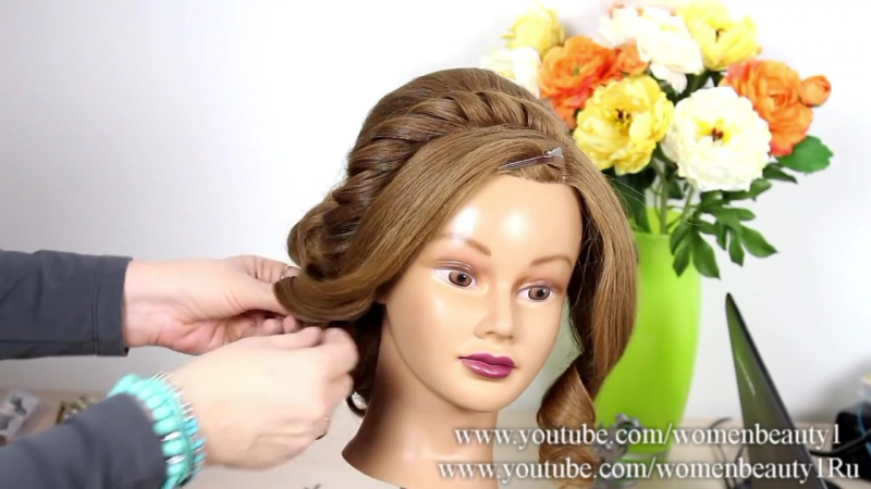 Prom wedding updo. Romantic hairstyle for long medium hair