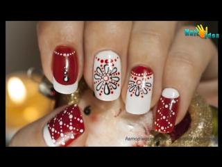 Новогодний  дизайн ногтей - Коралловые бусы - маникюр гель лак - уроки дизайна Донецк