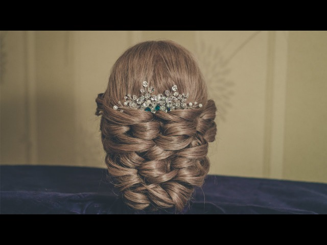 Hair bun for long and medium hair. Wedding hairstyle. Bricks technique.