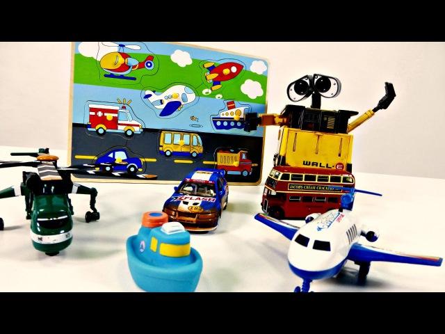 Vidéo éducative de robot Wall-E en français pour enfants - PUZZLE: moyens de transport 🚌🚁🚢
