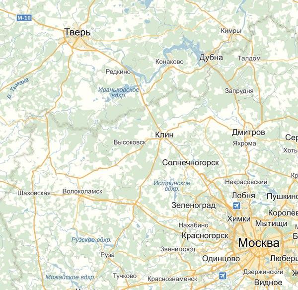 Карта автодорог от Москвы до Твери с населёнными пунктами по пути