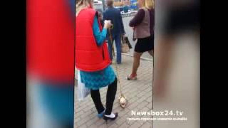 Жительница Владивостока вывела на прогулку свежемороженую курицу