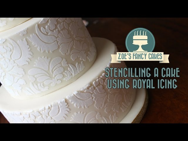 How to stencil on a cake using royal icing stencilling on a cake stenciling cake decorating tutorial