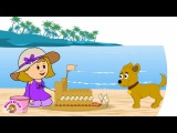 Elly goes to The Beach - Builds a Sandcastle
